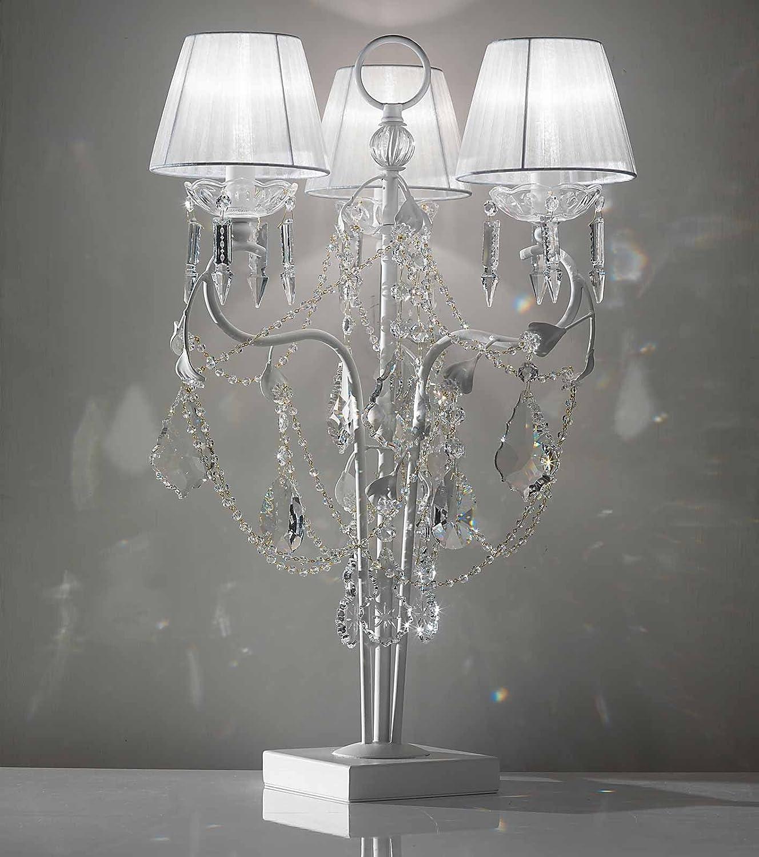 tredici Diseño Cristal Cristallo – Lámpara de mesa en blanco ...
