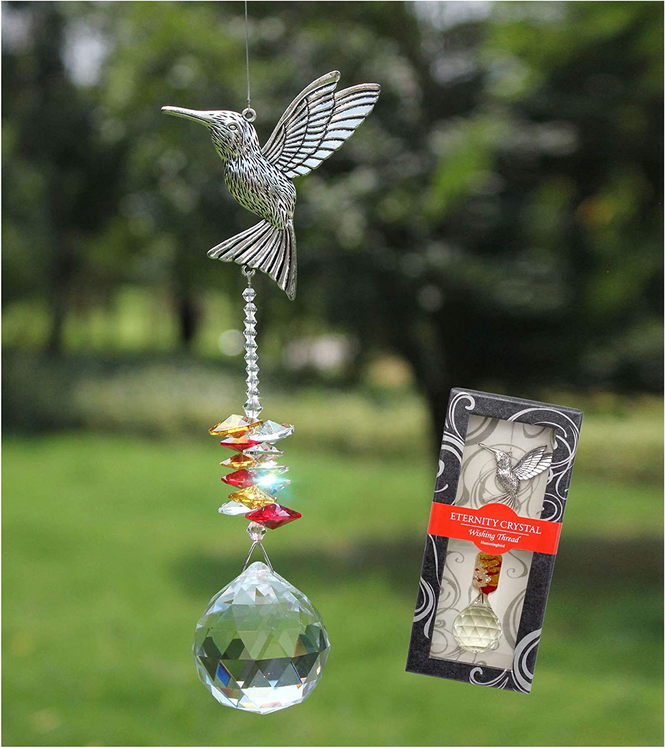 Crystal Garden Suncatcher Hanging Crystals Ornament for Window Rainbow Maker Prisms Home Decor Gift Boxed Sun Catcher Gift Idea for Mom Friends Grandma, Hummingbird