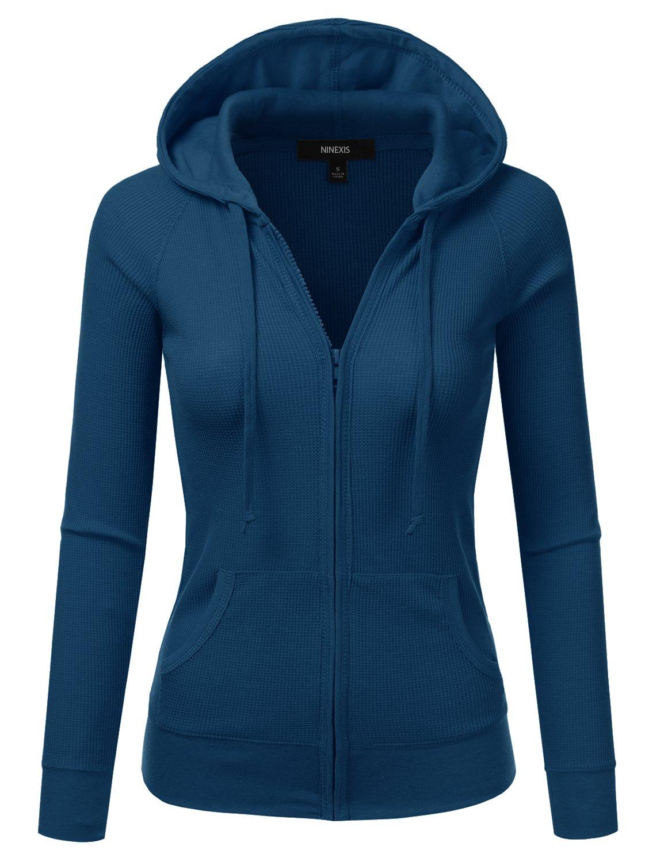 NINEXIS Women's Long Sleeve Casual Lightweight Hooded Thermal Zip-Up Jacket BLUETEAL XL