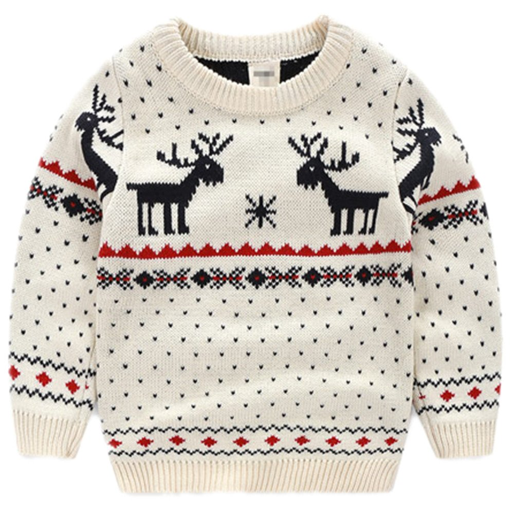 BESTERY Unisex Kids Knitted Fireplace Lovely Raindeer Sweater Pullover Jumper For Christmas Party Photograph Best Gift (3T, White) by BESTERY