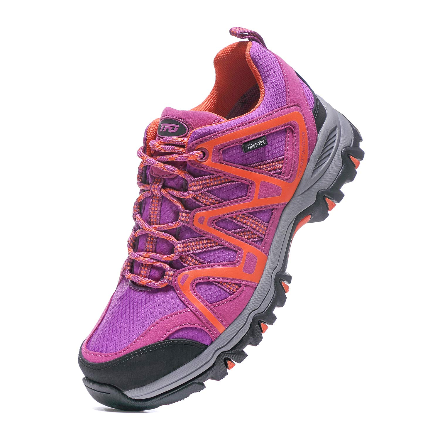 Women's Hiking Shoes Waterproof First-Tex Membrane Breathable Trekking Running Trail Shoes (Size 9, Purple/Orange)