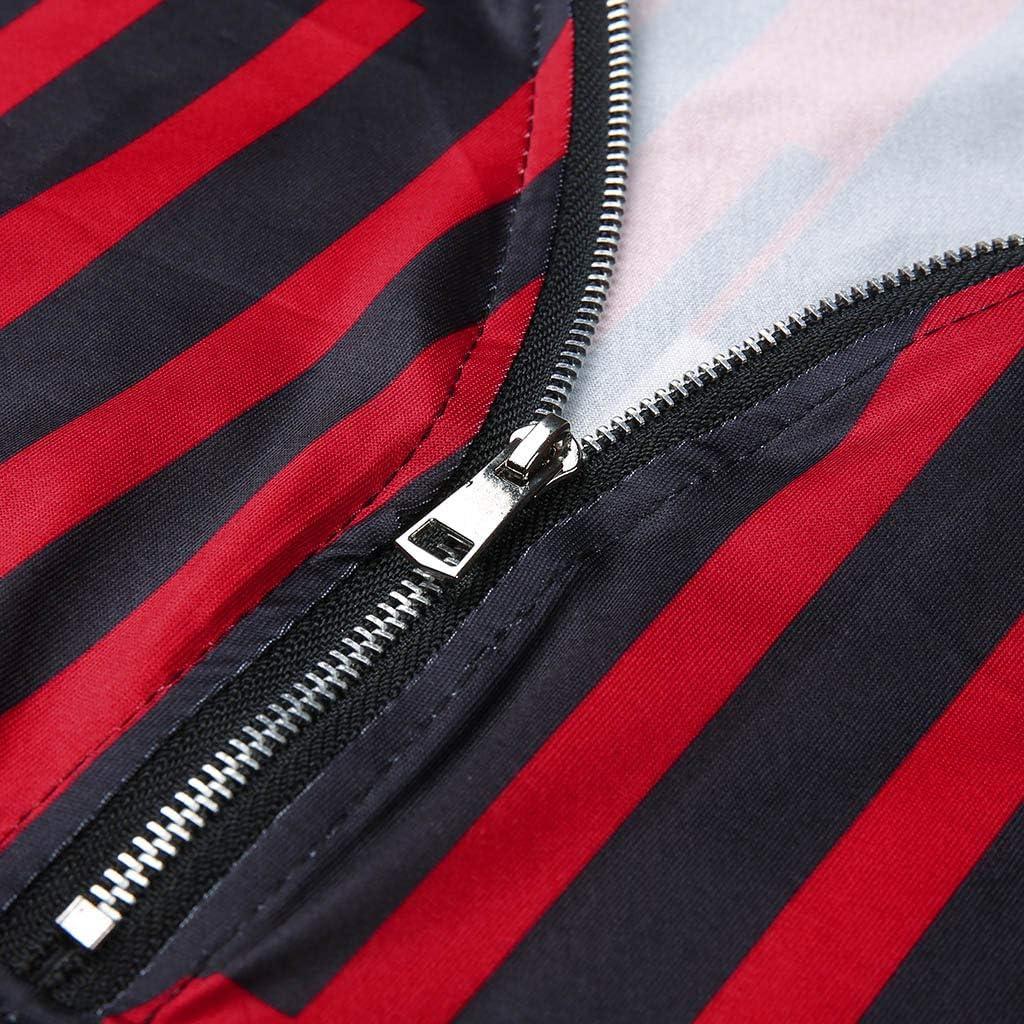 Eoeth Sweatshirt Pullover for Women Ladies Zipper Stripe Print Short Sleeve Large Size Top Blouse Shirt