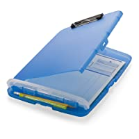 Officemate 83304 Slim Clipboard Storage Box, Translucent Blue