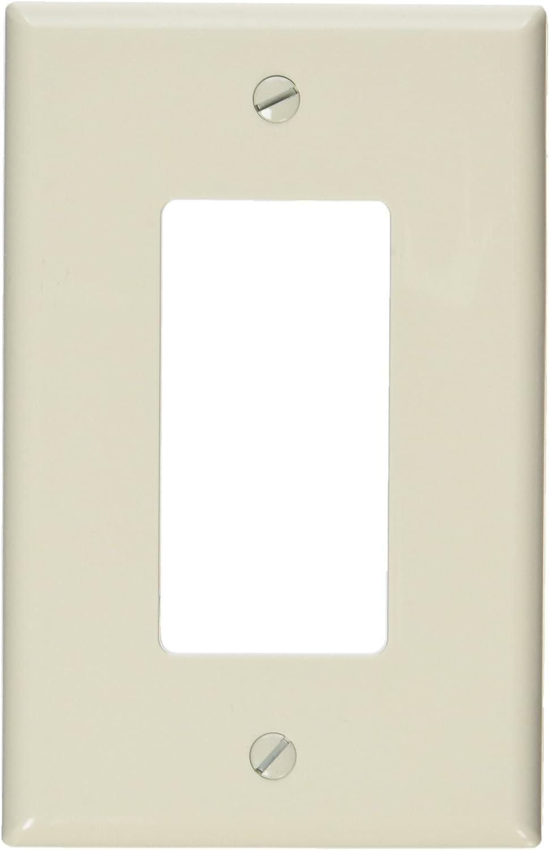 Leviton PJ26-T 1-Gang, 1-Decora, Midway Nylon Wallplate, Midway Size, Light Almond
