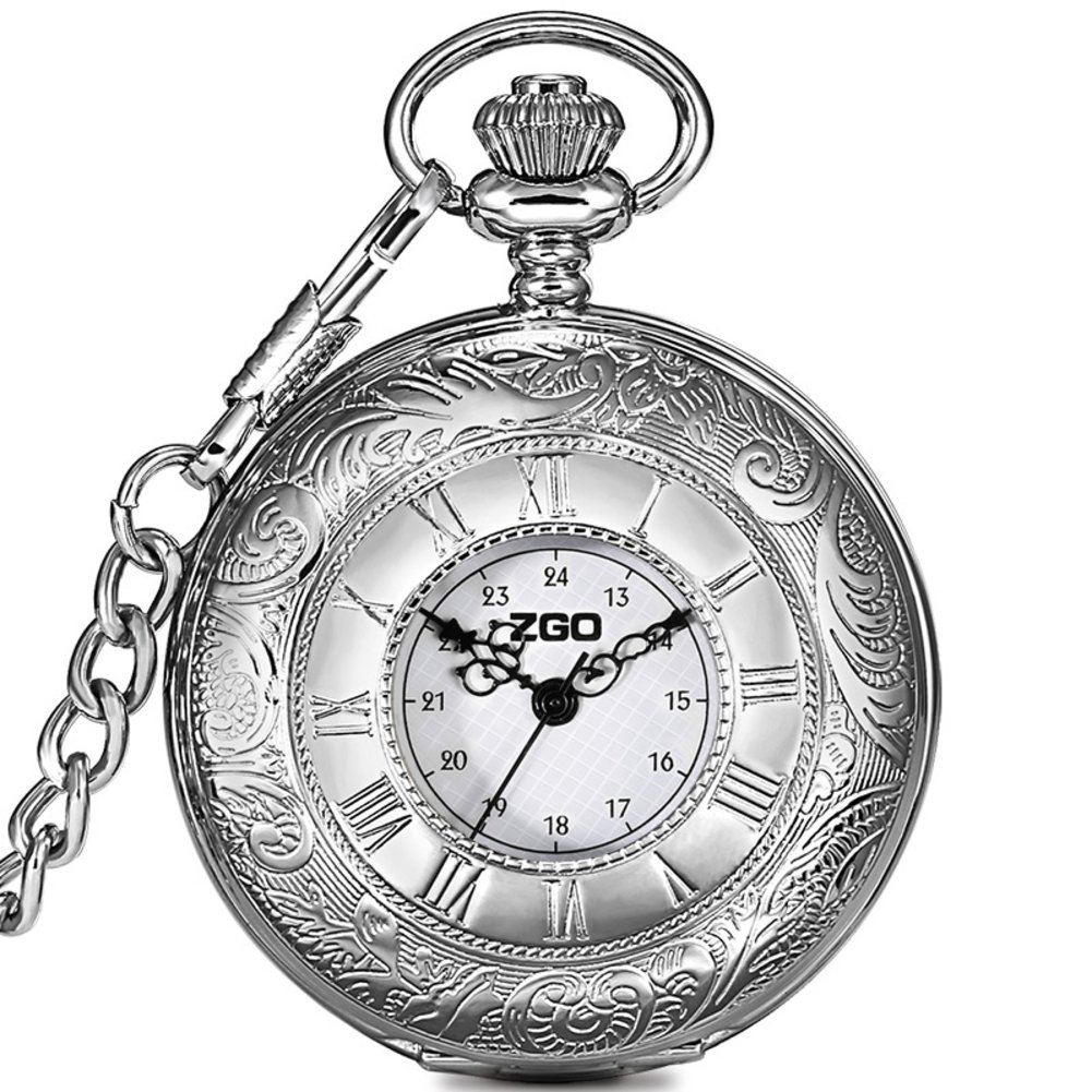 Men's and women's Quartz pocket watch,Waterproof Clamshell Carved case Roman numerals Retro pocket watch Pendant table Necklace table Students watch Old people-A by FXBNHDFMF
