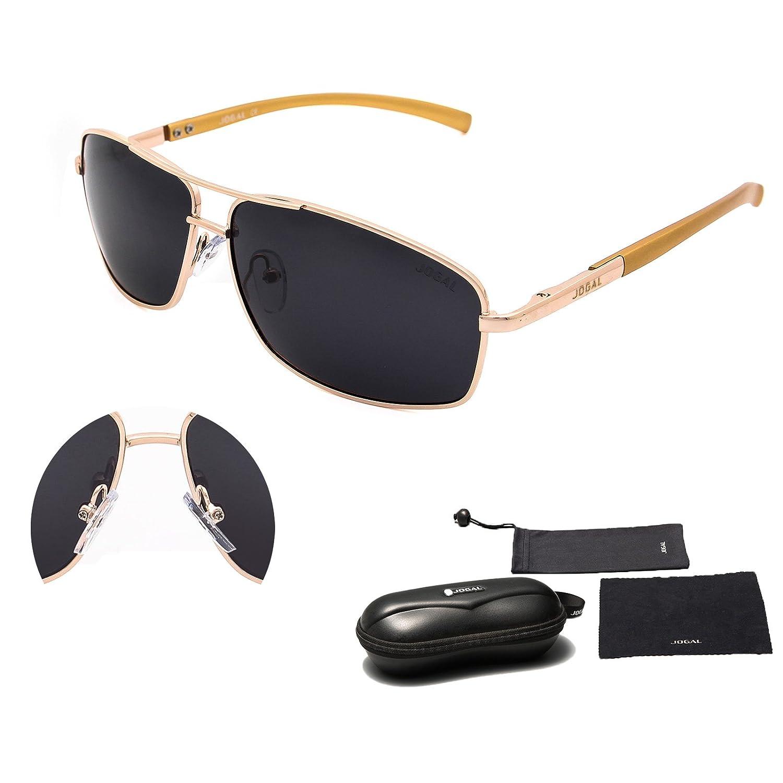 JOGAL SunGlasses Modedesigner Gespiegelte Aviator Sonnenbrille Reflektierend für Herren und Frauen mit 100% UV Schutz Schattierungen JG9001 (schwarzer Rahmen schwarz Linse) GfkPyO