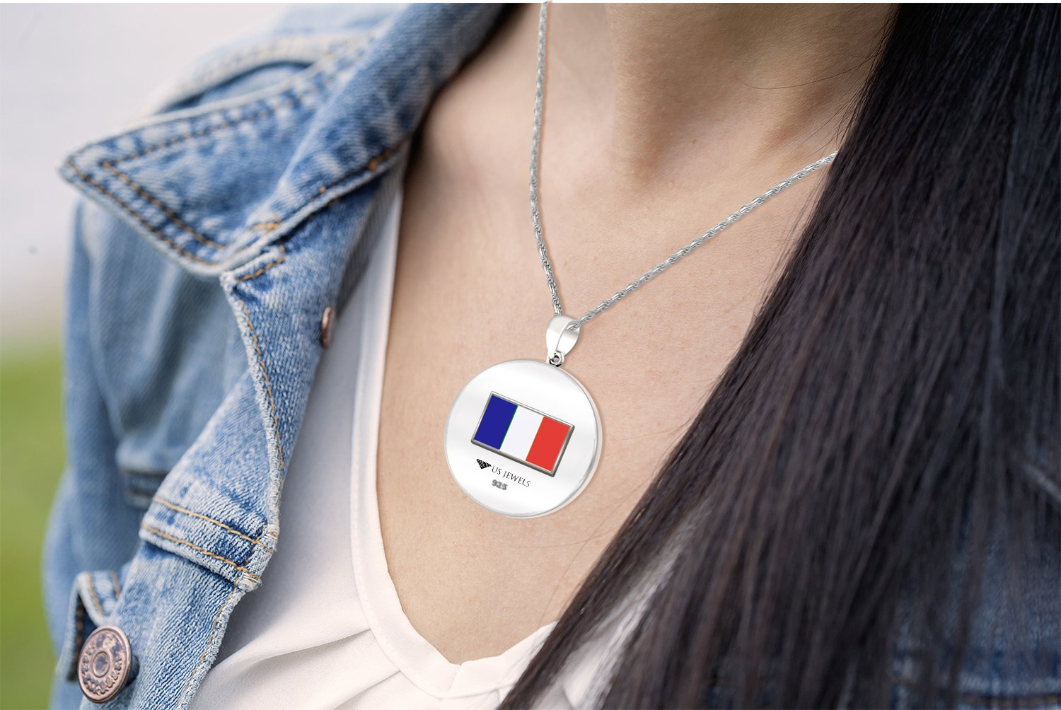 0.925 Sterling Silver 1in DNA Certified French Heritage Pendant Medal with Flag 2.3mm Rope Necklace, 18'' by US Jewels And Gems (Image #5)
