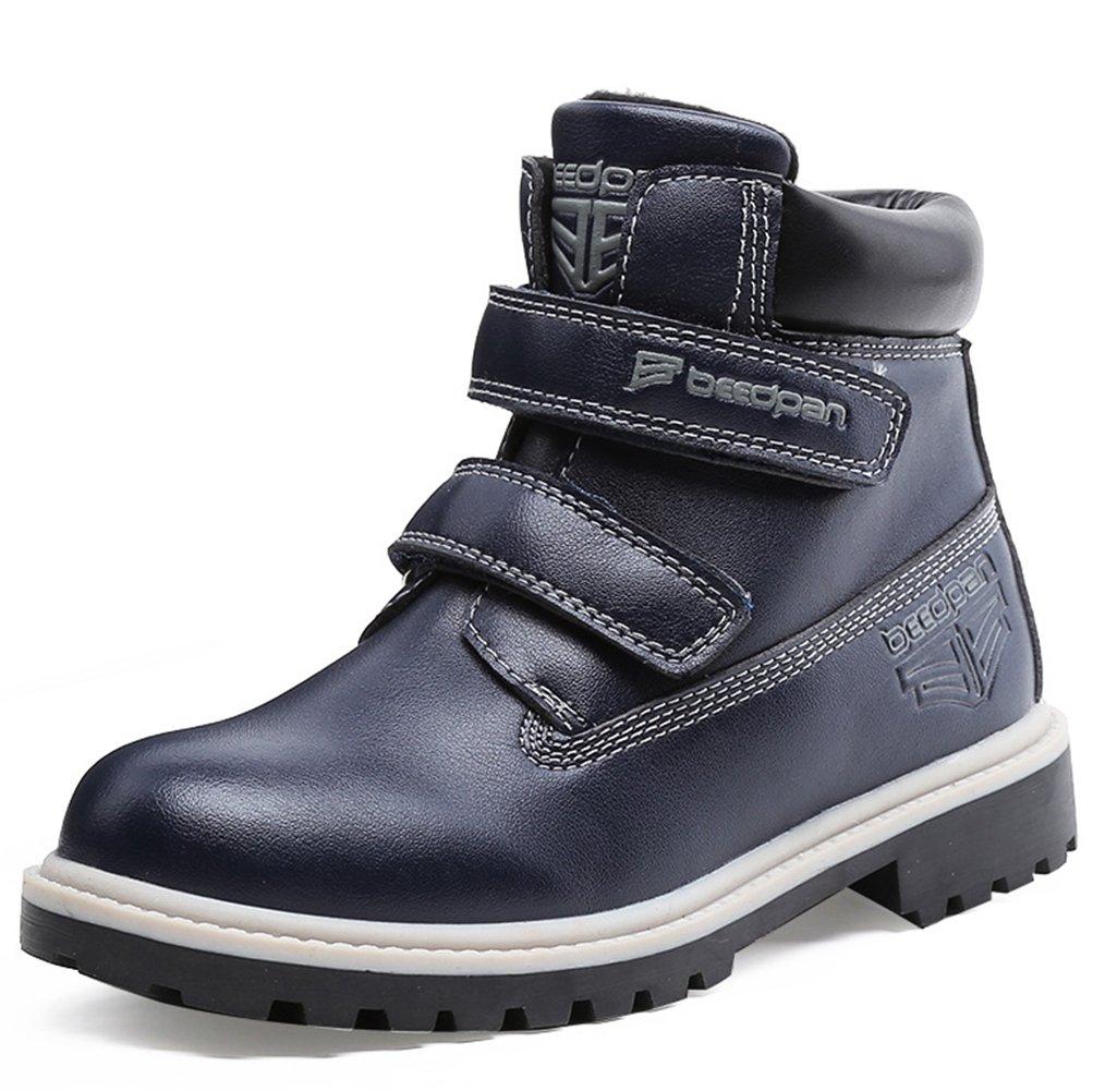 Hoxekle Waterproof Kids Winter Boots TPR Anti-slip Sole Velcro Boy Short combat Boots Dark Blue 2 M US Little Kid by Hoxekle