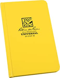 """Rite in the Rain Weatherproof Hard Cover Notebook, 4.25"""" x 6.75"""", Yellow Cover, Universal Pattern (No. 370F-M)"""