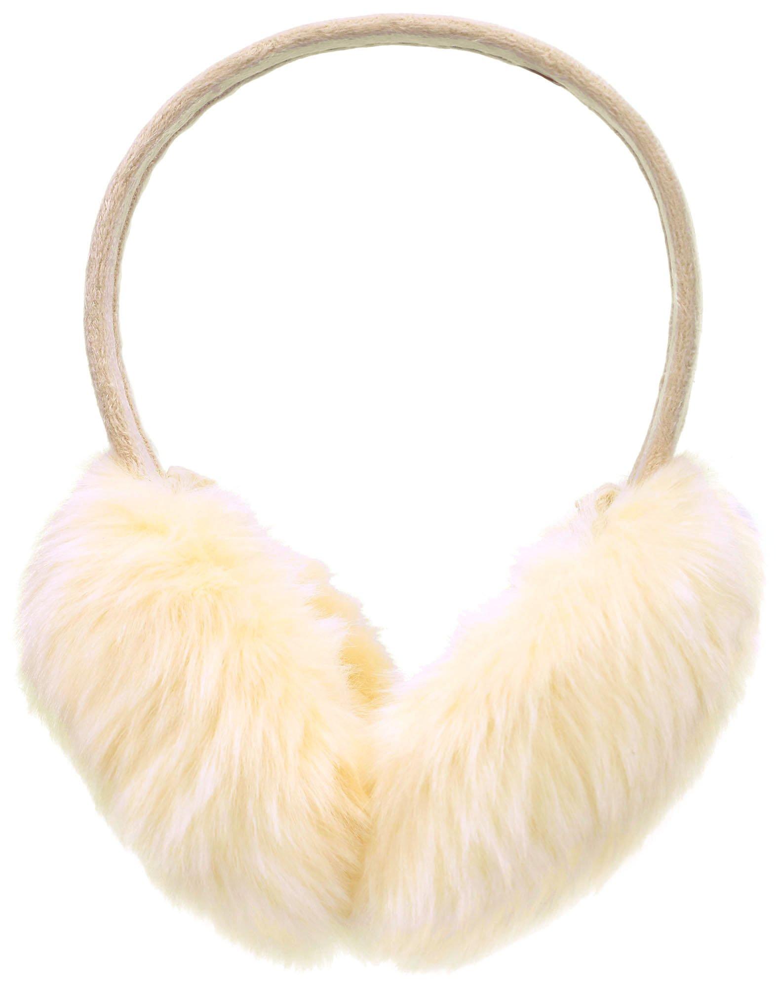 Women Women's Colorful Faux-Fur Furry Winter Earmuffs Ear Warmers, Cream