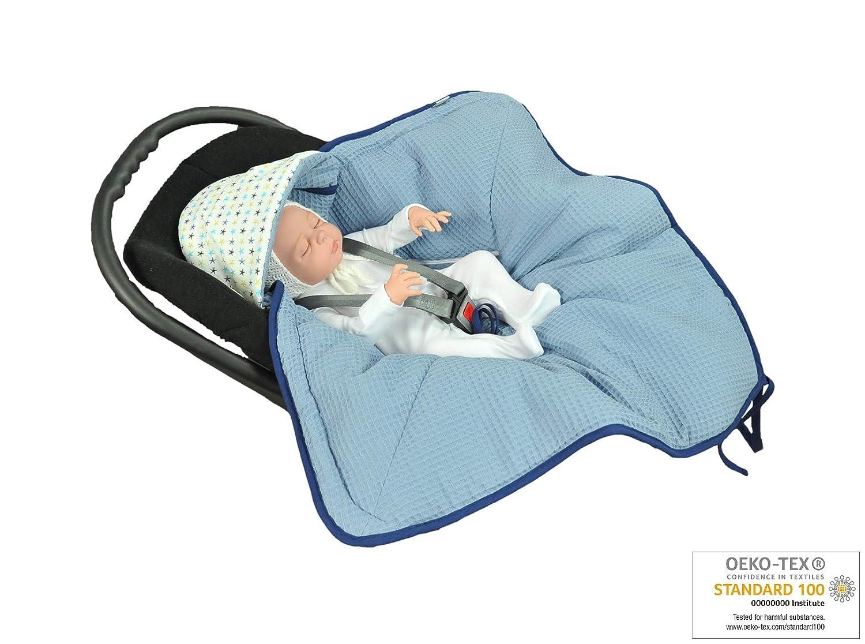 MOMIKA NEW Einschlagdecke aus Waffelpique Buggy oder Babybett Universal f/ür Babyschale Autositz Blue f/ür Kinderwagen