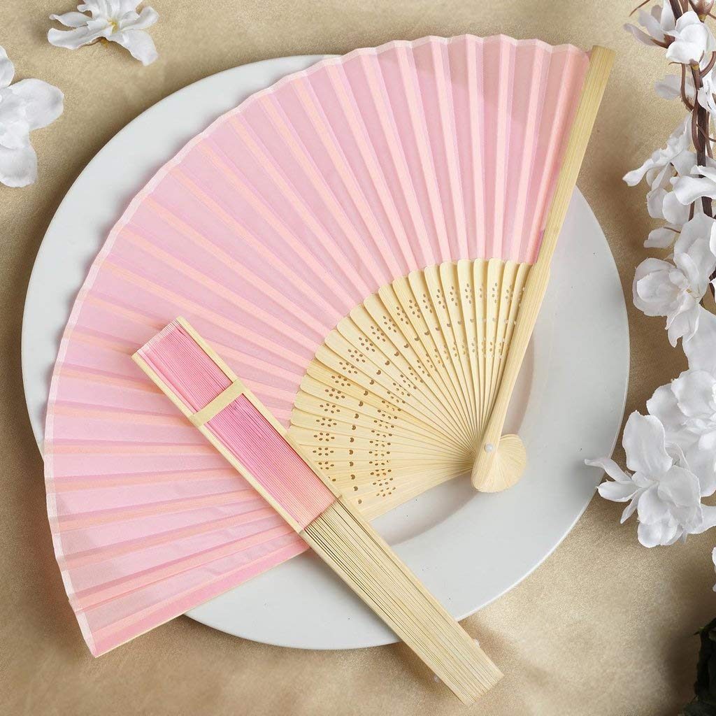 Efavormart Lot of 50 Wholesale Silk Folding Birthday Banquet Event Wedding Party Favor Fans - Lot of 50| Color| Blush