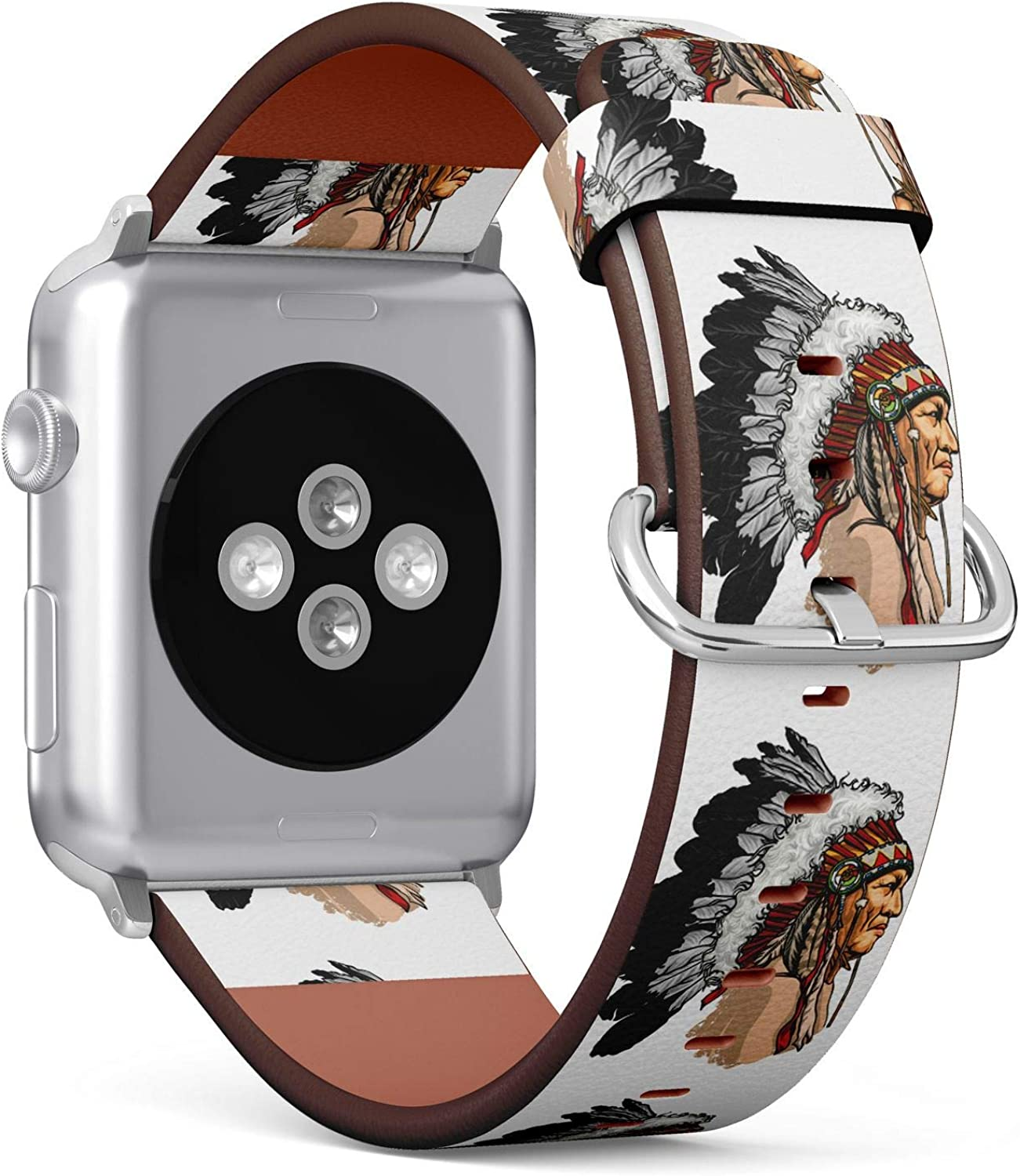 (Native American Indian Chief with Headdress) Patterned Leather Wristband Strap for Apple Watch Series 4/3/2/1 gen,Replacement for iWatch 38mm / 40mm Bands