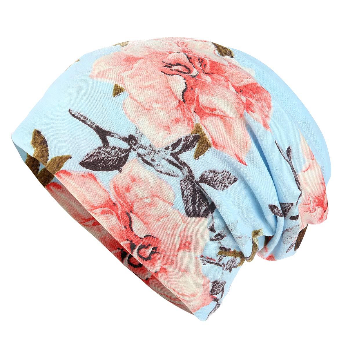 HONENNA Flower Printed Cotton Beanie Women Turban Headband Chemo Cap