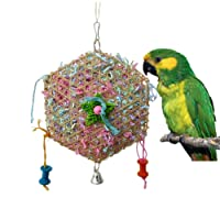 Keersi Bamboo Weaving Paper Strips Parrot Bird Toy for Budgie Parakeet Cockatiel Conure Lovebird Finch Cockatoo African Grey Macaw Eclectus Amazon Cage