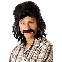 ALLAURA 80's Black Mullet Wig & Moustache Costume Bogan Wigs Set Mens Mullets