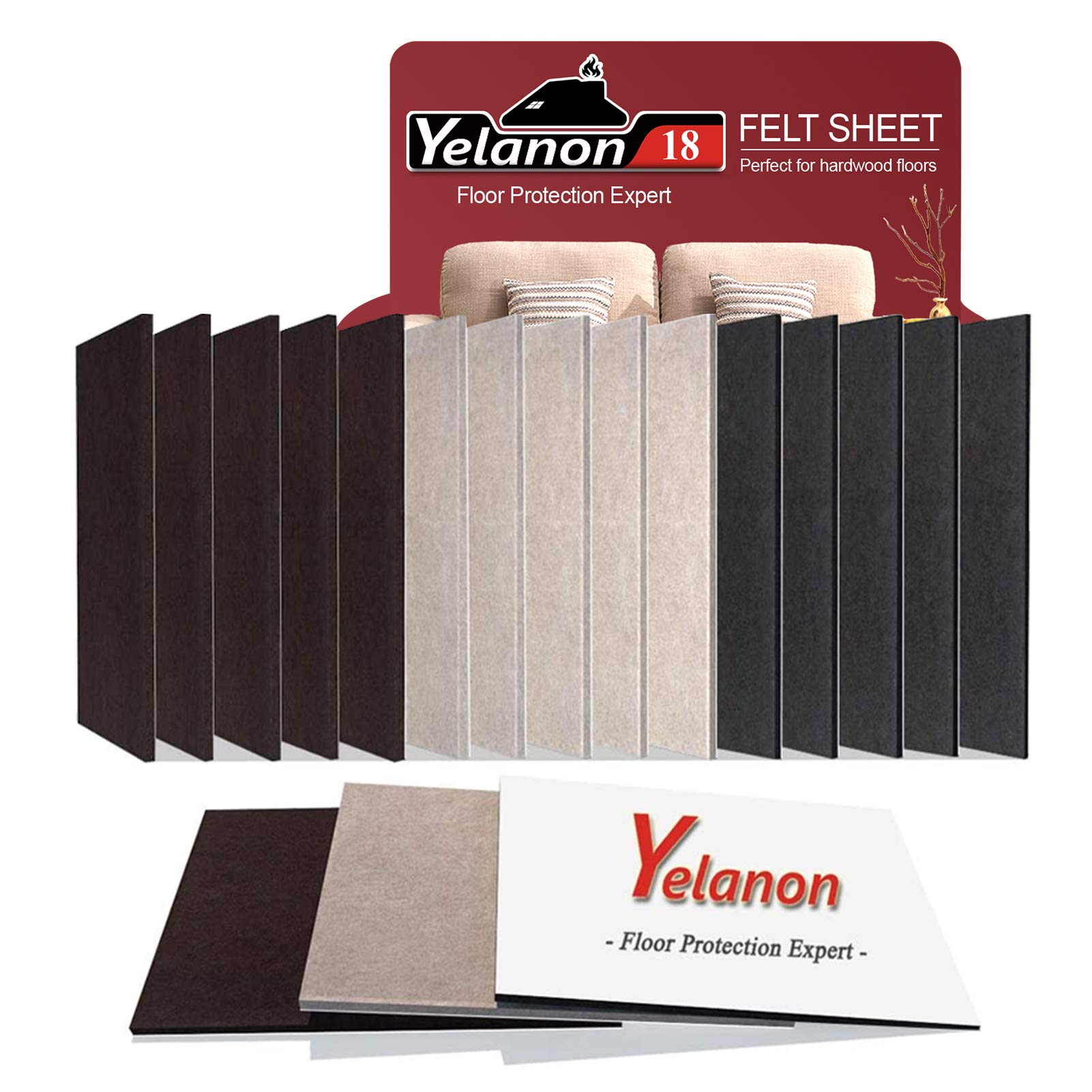 "Yelanon Felt Furniture Pads 18 Pieces 8"" x 6"" Furniture Pads Self Adhesive, Cuttable Felt Chair Pads, Anti Scratch Floor Protectors for Furniture Legs Furniture Couch Felt Feet Hardwood Floor"