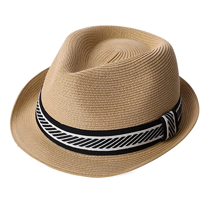 08ec44af Men Women Straw Sun Summer Fedora Panama Beach Hat Short Brim Casual  Foldable Khaki