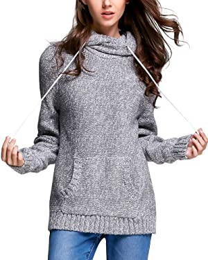 Zhili Women's Hooded Pullover Cable Knit Sweater Tunic