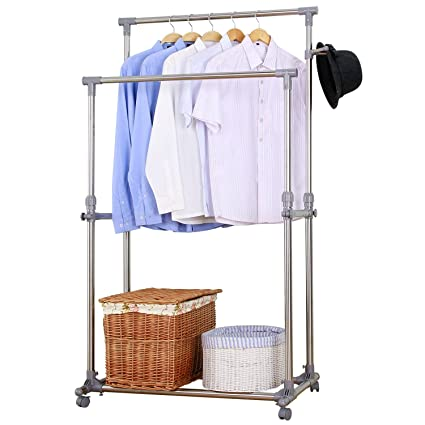 Ollieroo Stainless Steel Garment Rack Adjustable Telescopic Rolling Clothing Double Rail