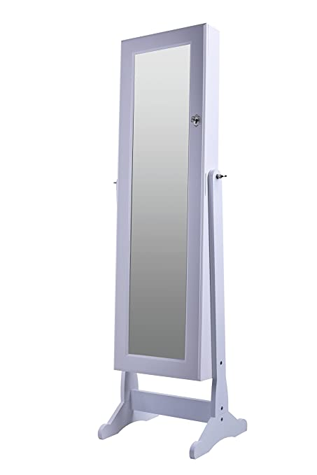 BTExpert Premium Wooden Jewelry Armoire Cabinet Floor Stand Organizer  Storage Box Case Cheval Mirror Safety Lock
