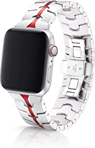 38/40mm JUUK Vitero Ruby Silver Premium Watch Band Made for The Apple Watch, Using Aircraft Grade, Hard Anodized 6000 Series Aluminum with a Solid Stainless Steel Butterfly deployant Buckle (Matte)