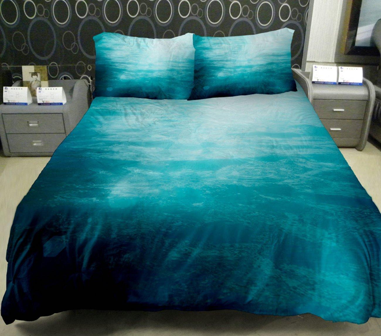Anlyeシーツカバーセット さざ波を立ちている淡いブルーの海 エコシリーズ 3D捺染 枕カバー2枚  掛け布団カバー フラットシーツ フルサイズ B00KEMW29Q フル(228X198 CM) フル(228X198 CM)