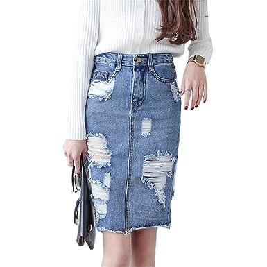 excellent quality outlet on sale wholesale dealer Jeremy Martin 3XL Plus Size Denim Skirt Women Vintage Ripped ...