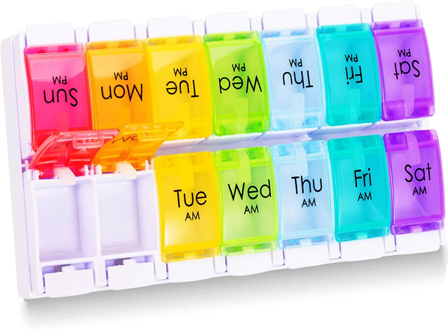 Betife 7 Day Pill Organizer AM PM, Easy Open Weekly Pill Box Case 2 Times a Day, Large Capacity 7 Day Pill Box Twice a Day, Push Button Daily Medicine Organizer for Pills/Vitamins/Fish Oils/Supplement