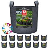 JERIA 12-Pack 7 Gallon, Vegetable/Flower/Plant Grow Bags, Aeration Fabric Pots with Handles (Black) ,Come with 12 Pcs Plant L