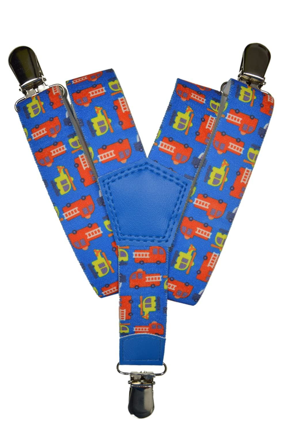 Childrens 1-5 Years Elasticated Clip on Braces / Suspenders with Fire Engine Design KIDSBRACESJfire-dblue