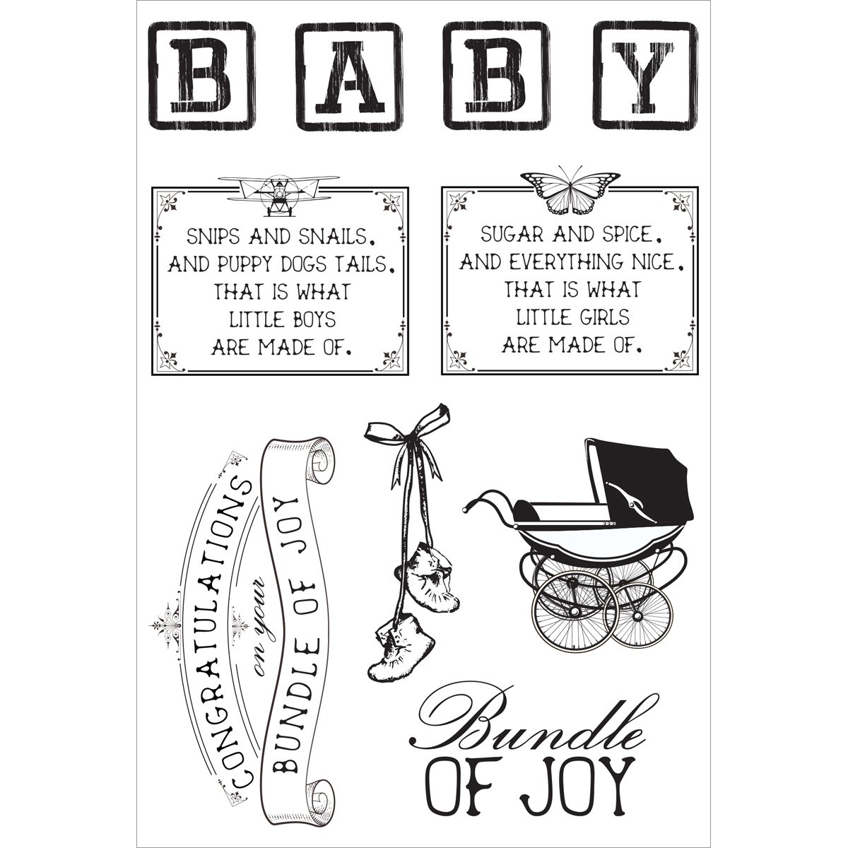 Peek A Boo Collection Clear Acrylic Stamps (6 Pack)