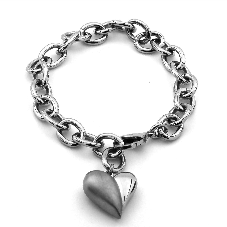Edward Mirell Titanium Heart Charm Bracelet with Satin and Polish Finish