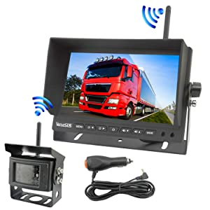 Wireless Backup Camera for Trucks RVs, Easy Installation, 328ft Long Transmission Distance, 7 Inch Wide Screen Wireless Monitor with IP68 Night Vision Wireless Backup Camera for Trucks, RVs, Trailers,
