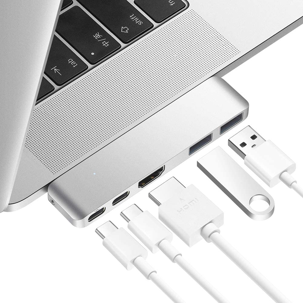 Purgo Mini USB C Hub Adapter Dongle for 2020/2019/2018 MacBook Air, 2020/2019-2016 MacBook Pro with 4K HDMI, 100W Power Delivery, 40Gbps TB3 5K@60Hz and 2 USB 3.0 Ports. (Silver)