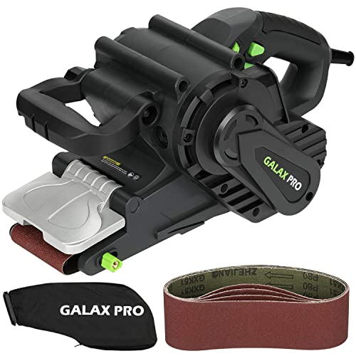 Belt Sander, GALAX PRO 8 Amps 120-380RPM Corded Sander with Variable Speed Settings, 5PCS Sanding Belts 3×21 Inch Dust Bag for Stock Removal