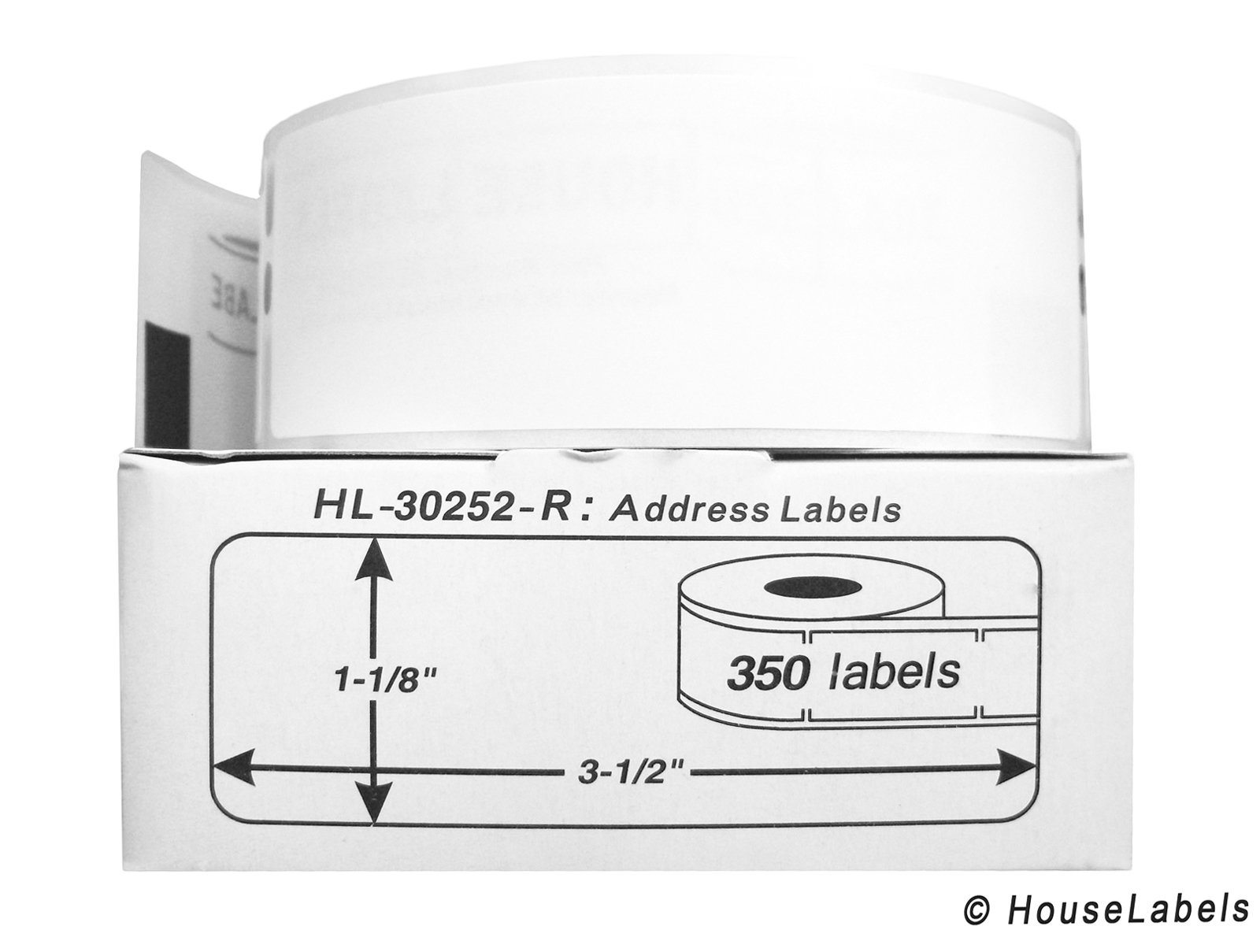 4 Rolls; 350 Labels per Roll of DYMO-Compatible 30252-R REMOVABLE Address Labels (1-1/8'' x 3-1/2'') -- BPA Free!