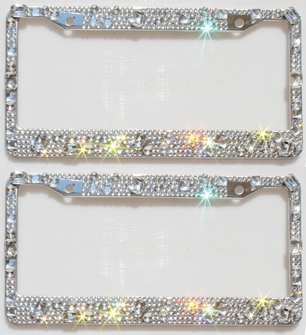 Carfond License Plate Frame Handcrafted 1000pcs Finest 14 Facets SS20 Crystal Diamond Bonus Bling Crown Valve Stem Caps 2 pack pink