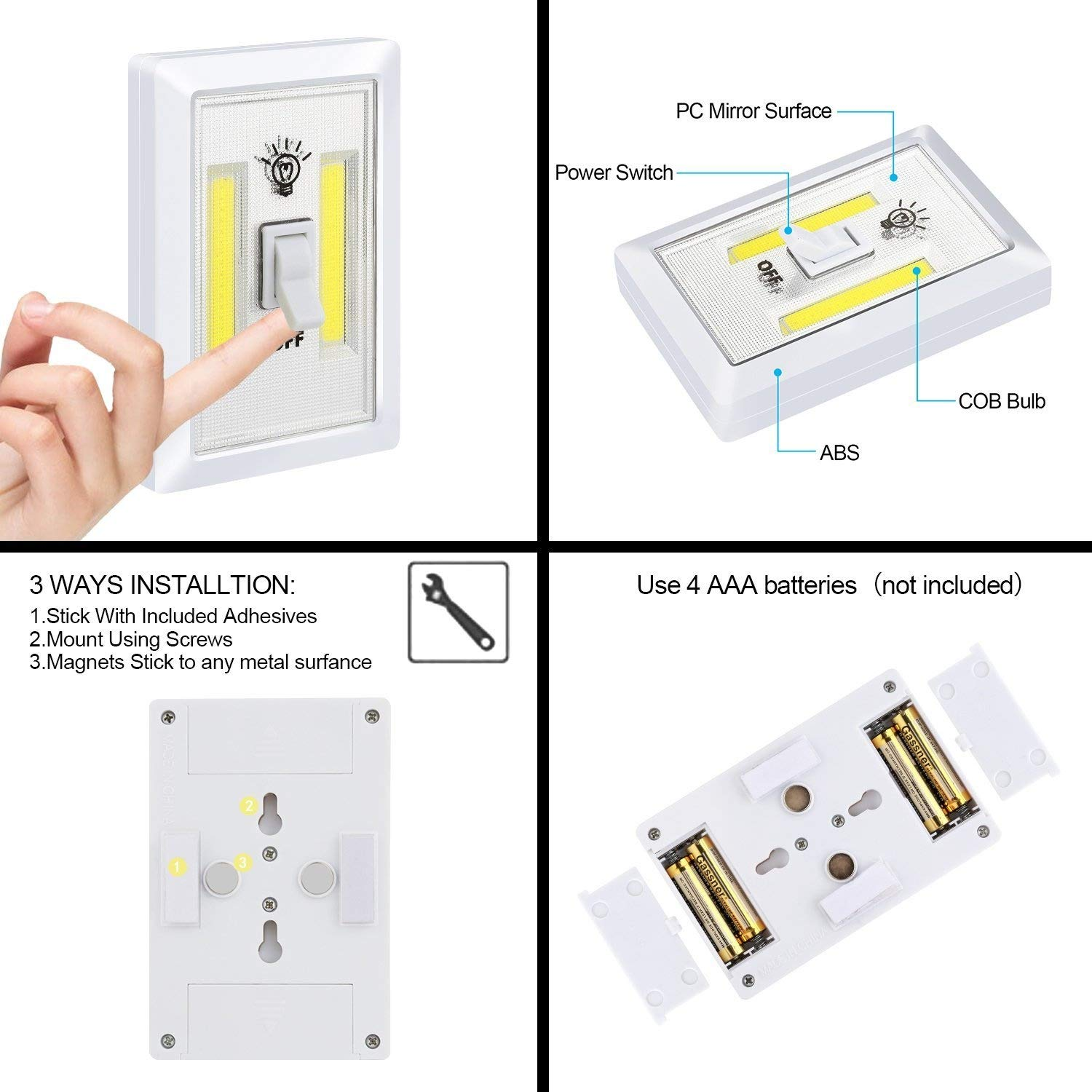Closet Light Switch Alectide Battery Operated Night 4 Wiring Diagram For Led Garden Lights Furthermore Outdoor Pack Emergency Wall Wireless Mount Under Cabinet Shelf Counters