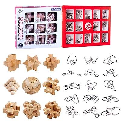 BOROK Rompecabezas Metal, 24Pack 3D Puzzles Adultos Juegos de Ingenio (9xMadera +15xMetal) Juegos de Mesa Juego IQ Juguete Educativos Habilidad Juego Logica Calendario de Adviento Niños: Juguetes y juegos