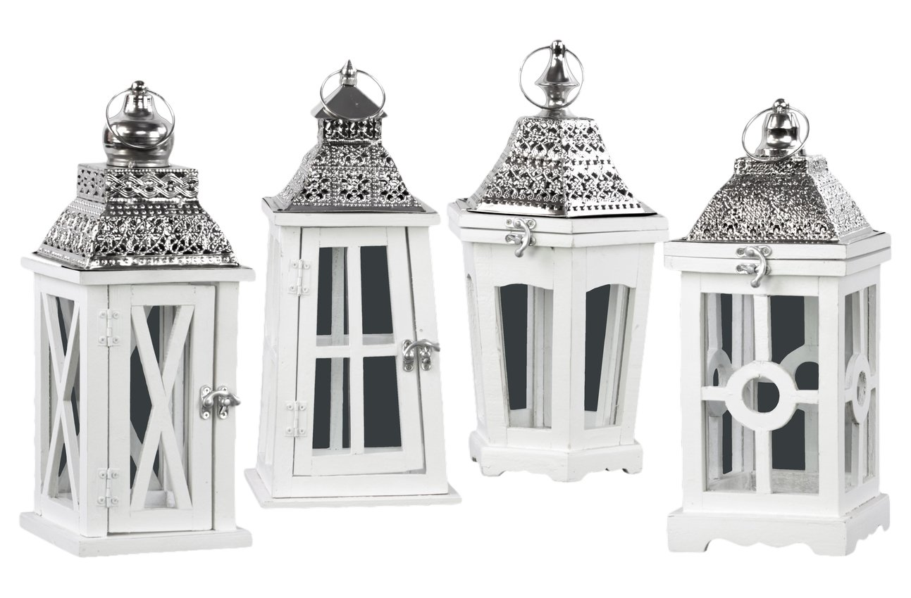 Urban Trends Square Lantern with Silver Pierced Metal Top, Ring Hanger and Glass Windows Assortment of Four Coated Wood Finish Decorative Item, White