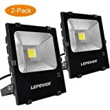 LEPOWER 2 Pack 50W New Craft LED Flood Light, Super Bright Outdoor Work Light With Plug, 250W Halogen Bulb Equivalent, IP66 Waterproof, 4000lm, 6500K, Outdoor Led Lights ( White Light )