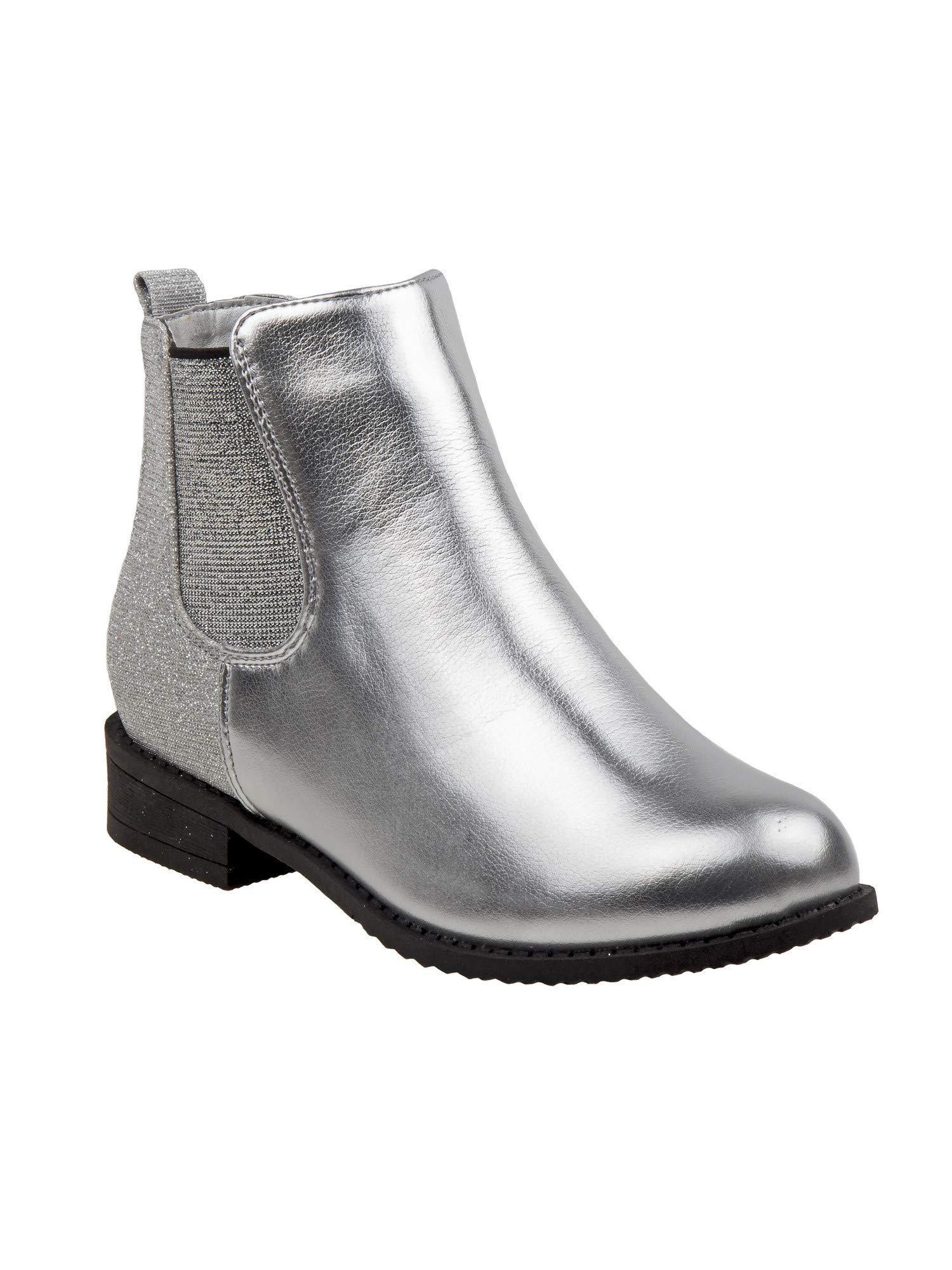 Nanette Lepore Girls Silver Elastic Side Panel Closure Chelsea Boots 1 Kids