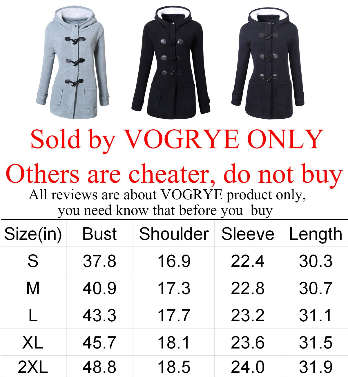 VOGRYE Womens Winter Fashion Outdoor Warm Wool Blended Classic Pea Coat Jacket Black Medium by VOGRYE (Image #2)
