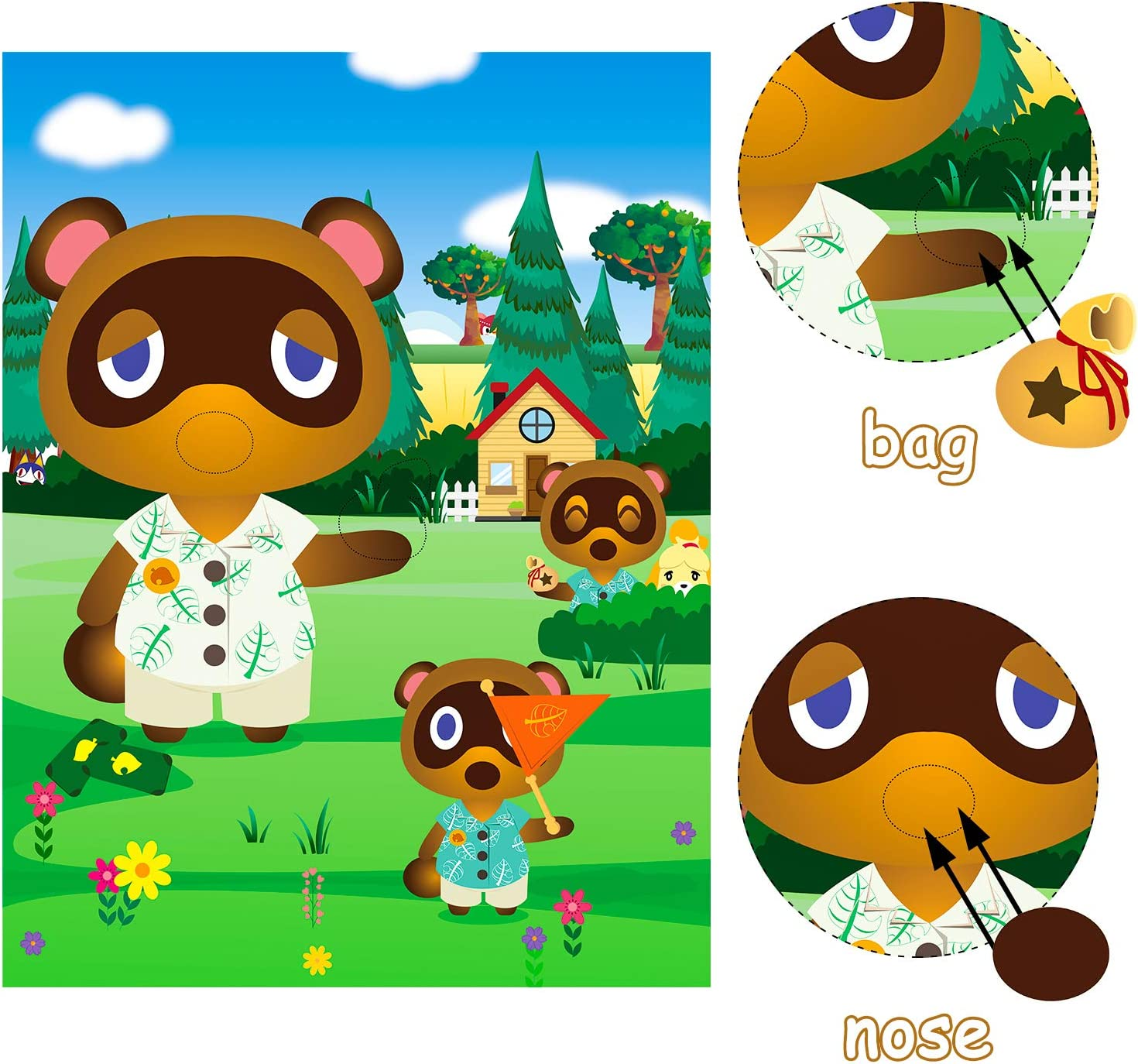 Animal Stickers Game Themed Pin the Tail Party Supplies Pin the Nose Mouth on the Poster Birthday Collection Favor Baby Shower Game Background Accessories for Kids Includes 2 Blindfolds