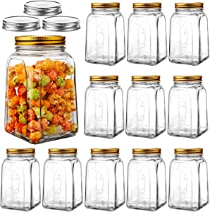 Daitouge 37 Ounces Regular Mason Jar Airtight Lids, Glass Jars with Golden Lids, Canning Jars for Storage, Pickeling, Meal Prep, 12 Pack