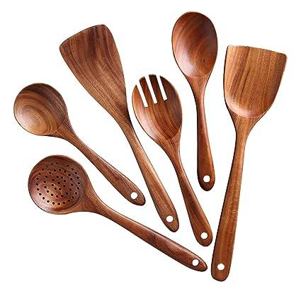 Wood Wooden Kitchen Spoon Fork Salad Spoon Eating Baking Drinking Flatware Set