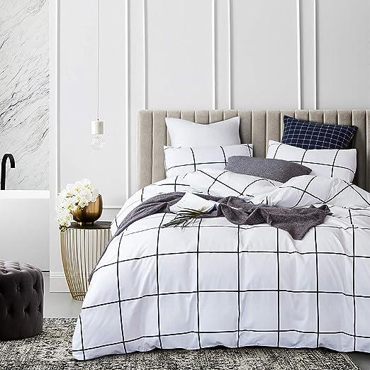 Amazon.com: Jumeey Black and White Grid Bedding Queen Buffalo