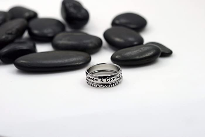 694ae65337c09 5mm and 3mm *Shiny Finish* Stackable Stainless Steel Family Custom Stacking  Name Ring Set