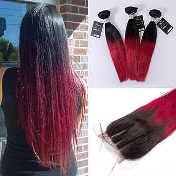 Silky recto Ombre Hair de paquetes con encaje cierre TB/burdeos 3 mechones de pelo humano con libre parte 4